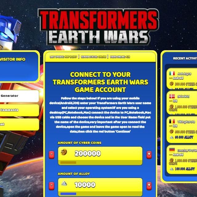 transformers earth wars hacked apk