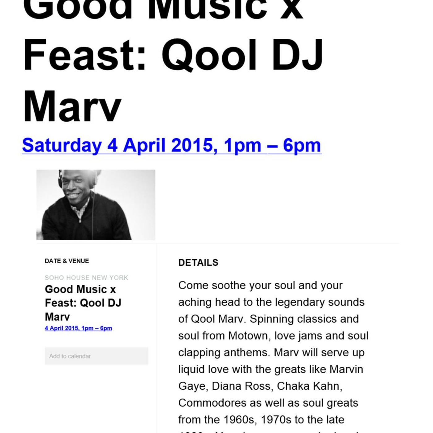 Qool DJ Marv Live at Soho House NYC - April 4 2015 - Opening set of DJ  Brunch Session #1 I'm In The Mood For Love - Chaka Kahn You and I ...