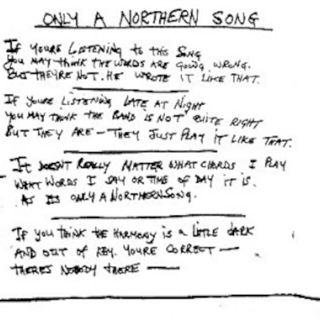 THE BEATLES / ONLY A NORTHERN SONG / SOUND EFFECTS ONTO BACKING # 1 ...
