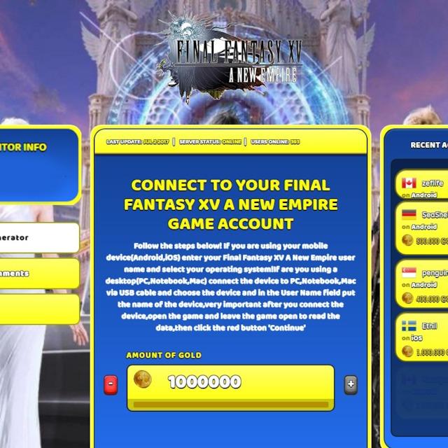 Final Fantasy XV A New Empire Hack Cheat Online Generator