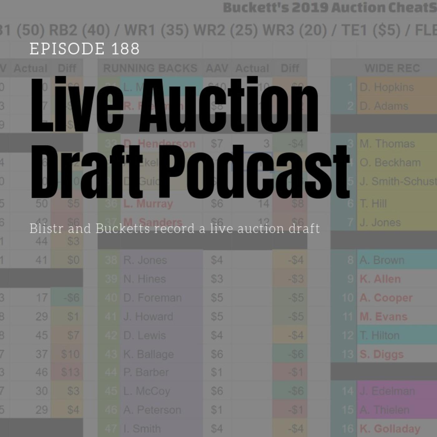 Ep188 Live Fantasy Football Auction Draft Fantasy Football Auction