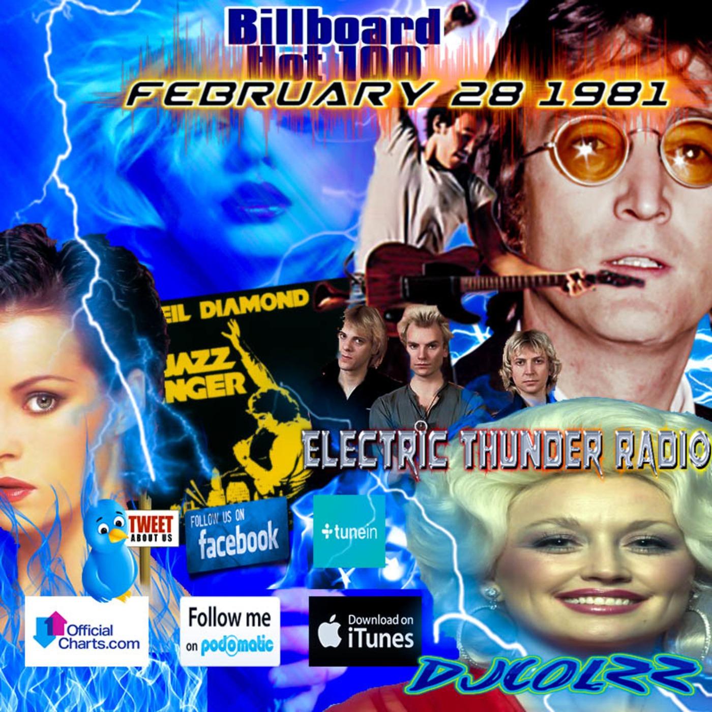 Billboard Hot 100 February 28 1981 Electric Thunder Radio