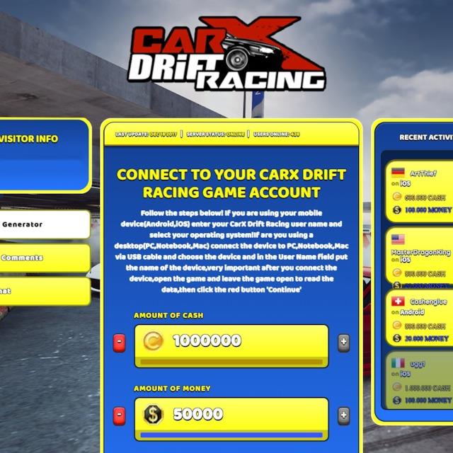 CarX Drift Racing Hack Cheat Generator Cash and Money Unlimited