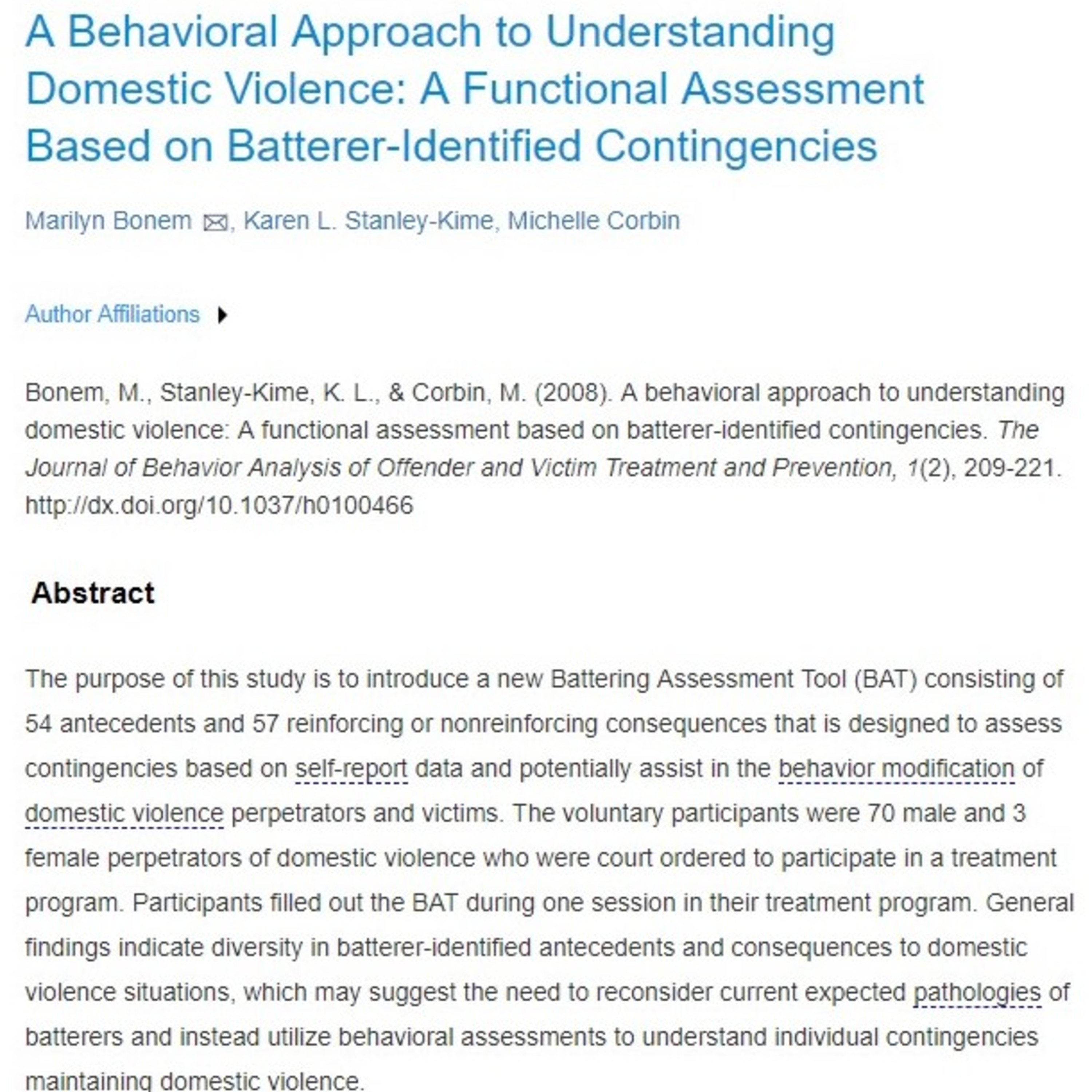 Right Off the BAT:  The Operant Conditioning Theory Regarding Domestic Violence